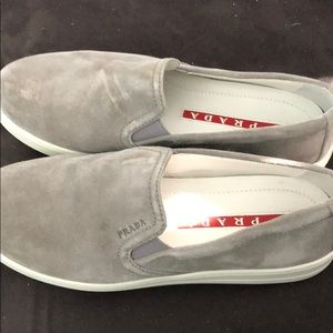 Gray suede Prada Slip ons- never worn outside